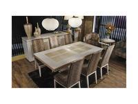 Tecni nova: Valencia: стол обеденный раскладной  (слоновая кость, золото)