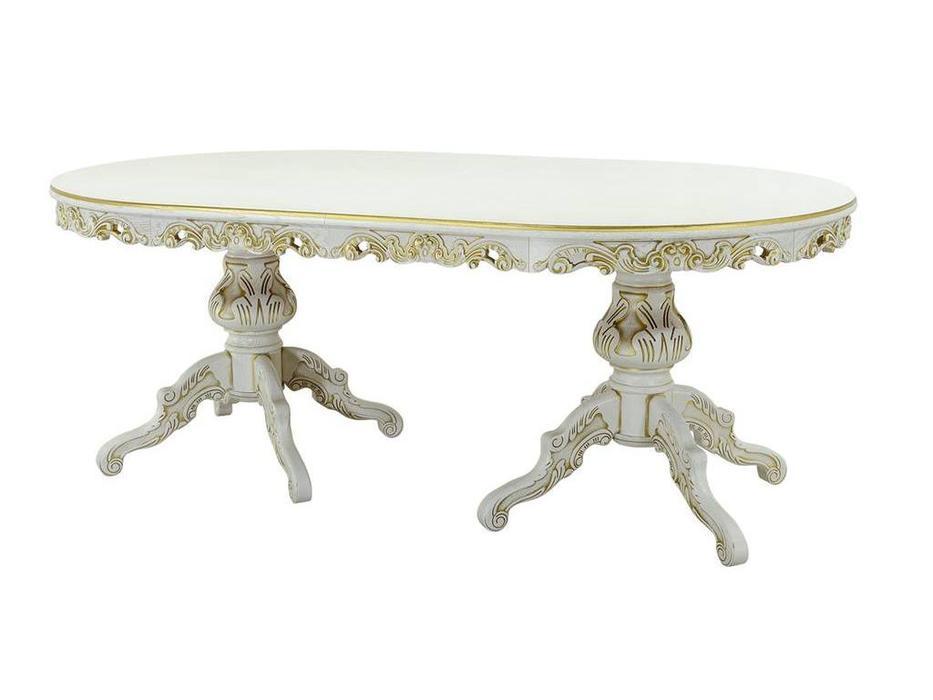 Оримэкс: стол обеденный Ампир раскладной (молочный дуб с бронзовой патиной)