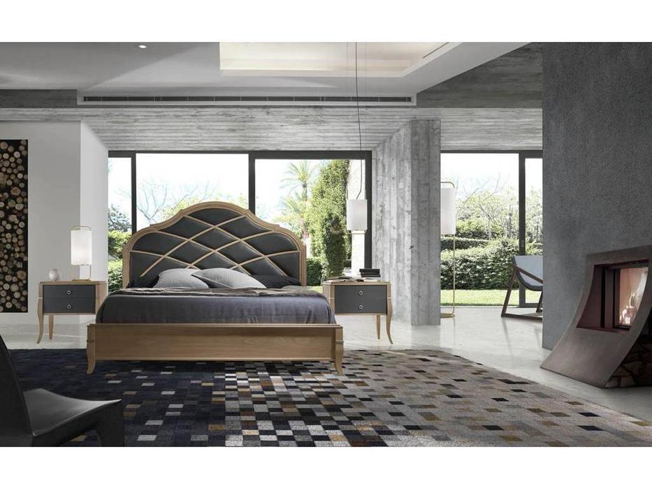 Monrabal Chirivella: Valeria: кровать Paris 160х200 с обивкой (беленый дуб)