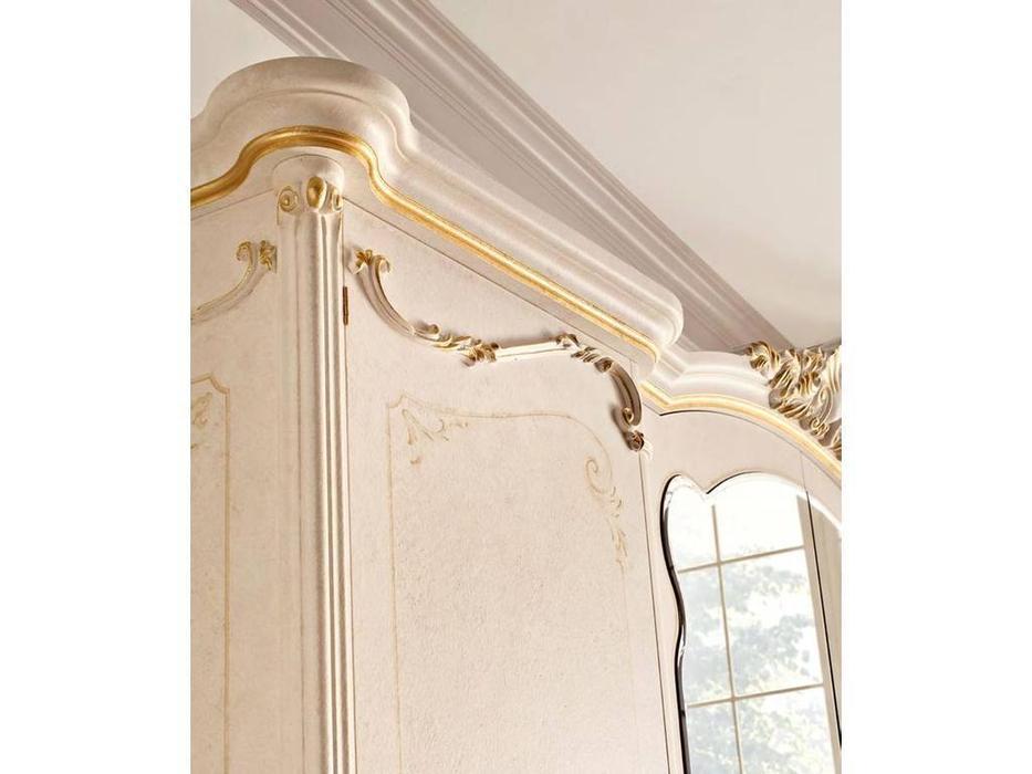Grilli: Doge: шкаф 4 дверный  с зеркалом (слоновая кость, золото)