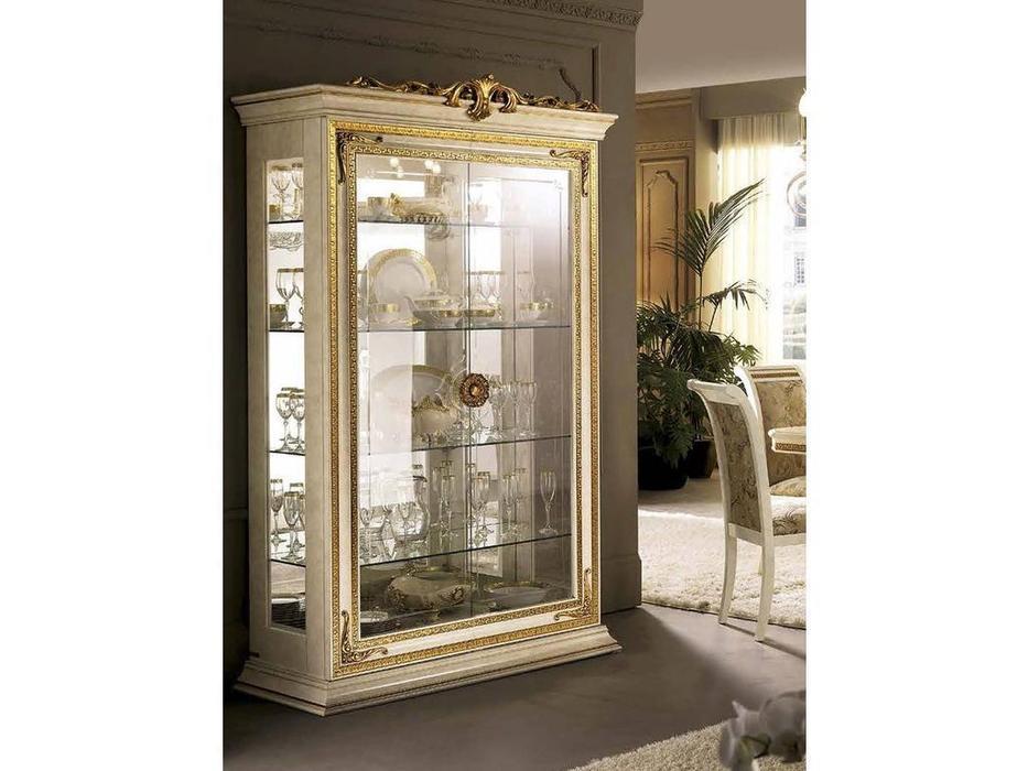 Arredo Classic: Leonardo: витрина 2-х дверная с короной (белый)