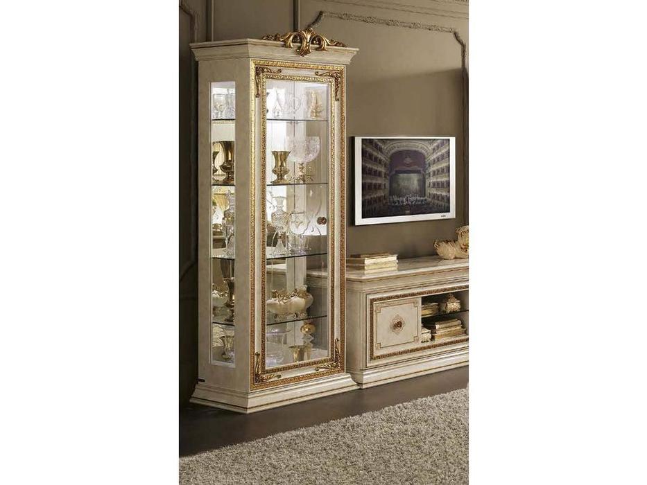 Arredo Classic: Leonardo: витрина 1 дверная с короной (белый)