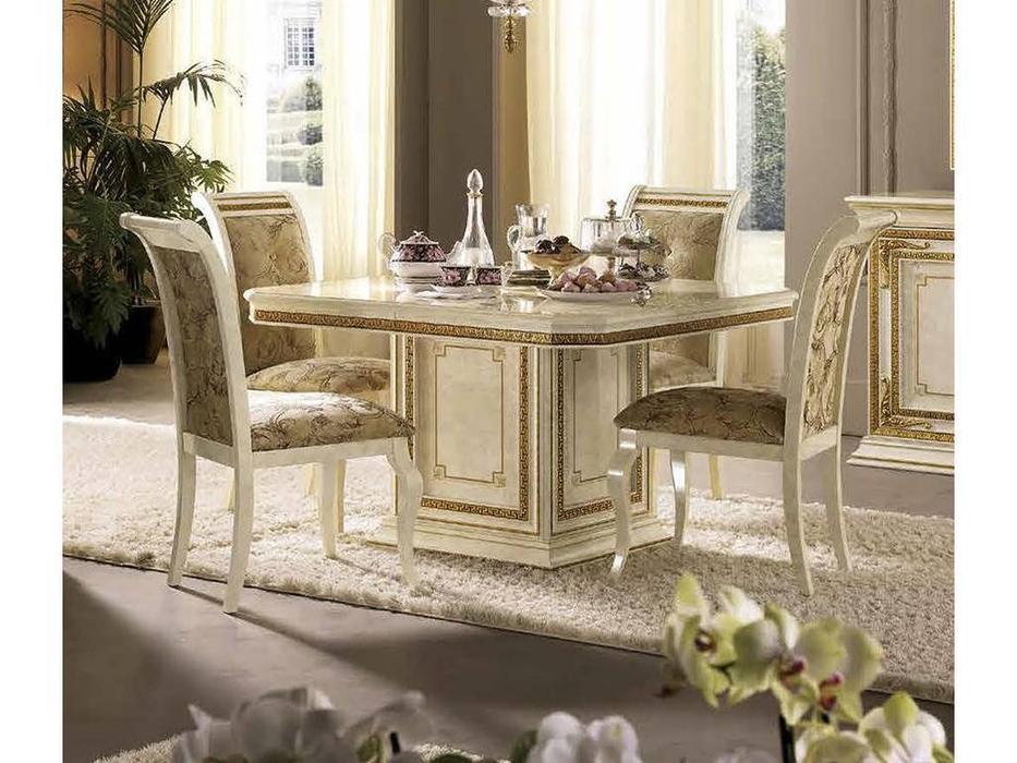 Arredo Classic: Leonardo: стол обеденный раскладной 120/160 (слоноваякость, золото)