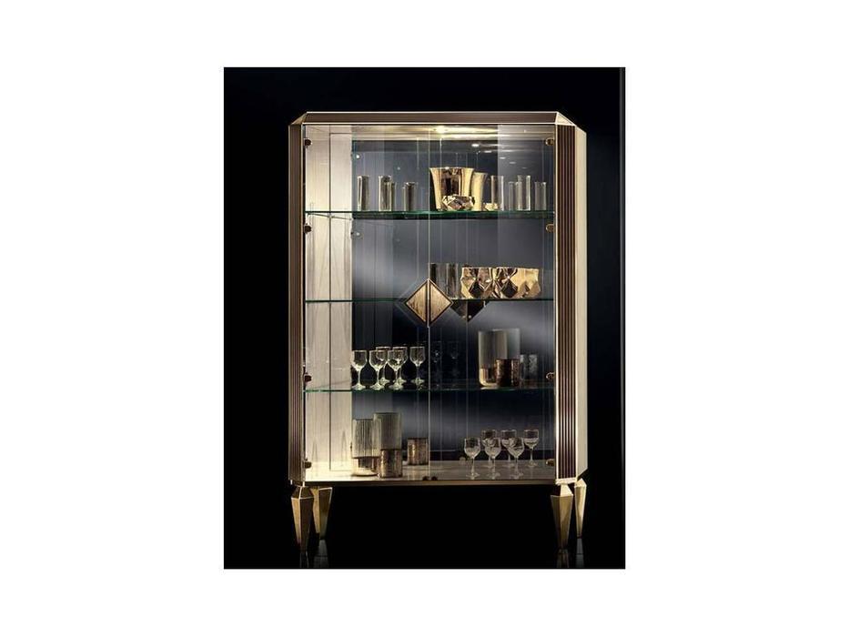 Arredo Classic: Diamante: витрина 2 дверная (слоновая кость, вяз, золото)