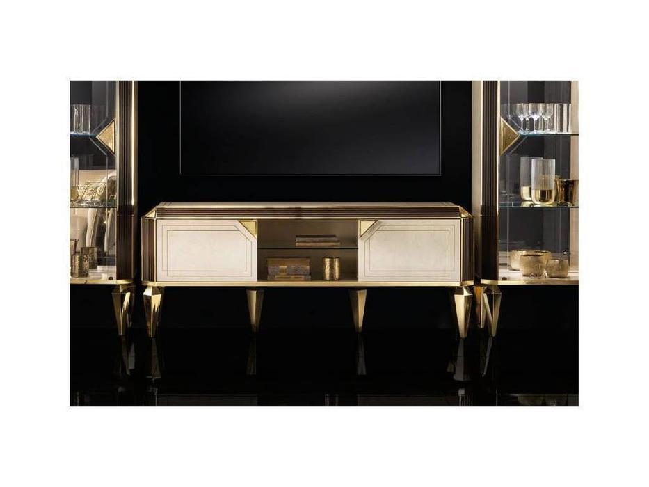 Arredo Classic: Diamante: тумба под телевизор (слоновая кость, вяз, золото)