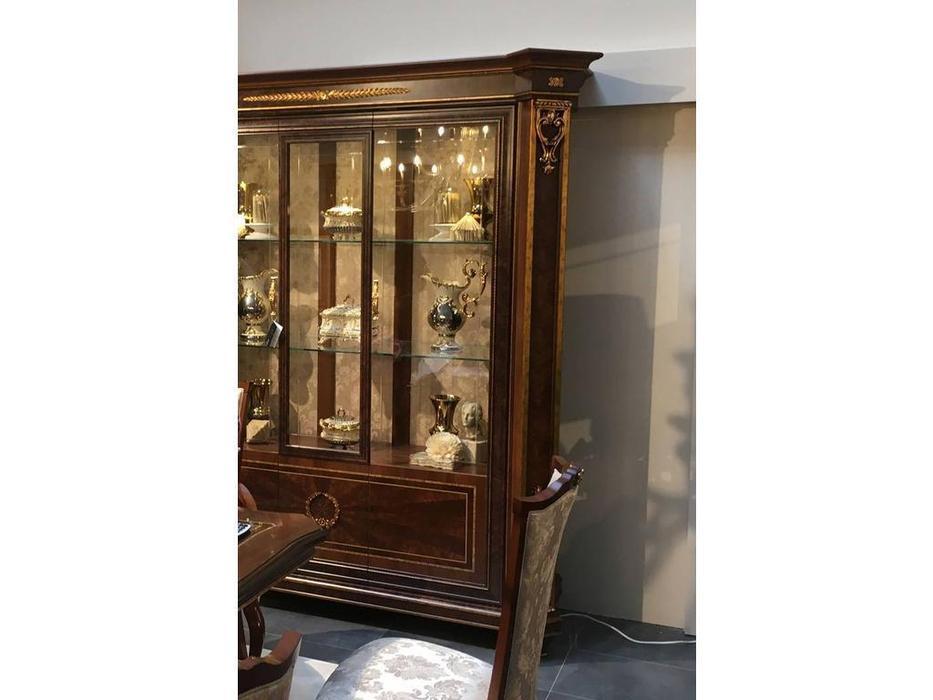 Arredo Classic: Modigliani: витрина 3 дверная стенка зеркало (орех)