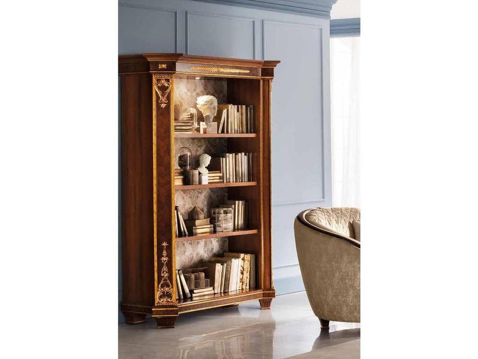 Arredo Classic: Modigliani: шкаф книжный с дверцами, стенка ткань, полки дерев. (орех)