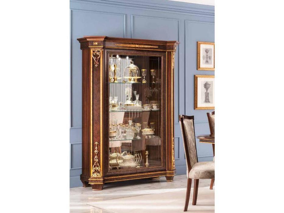Arredo Classic: Modigliani: стеллаж открытый, стенка ткань, полки стекло (орех)