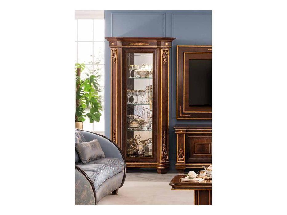 Arredo Classic: Modigliani: витрина полки  дерево , задняя стенка зеркало (орех)