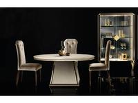 Arredo Classic: Diamante: стол обеденный круглый (слоновая кость, вяз, золото)