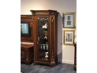 Arredo Classic: Modigliani: витрина 1 дверная полки стекло, задняя стенка ткань (орех)