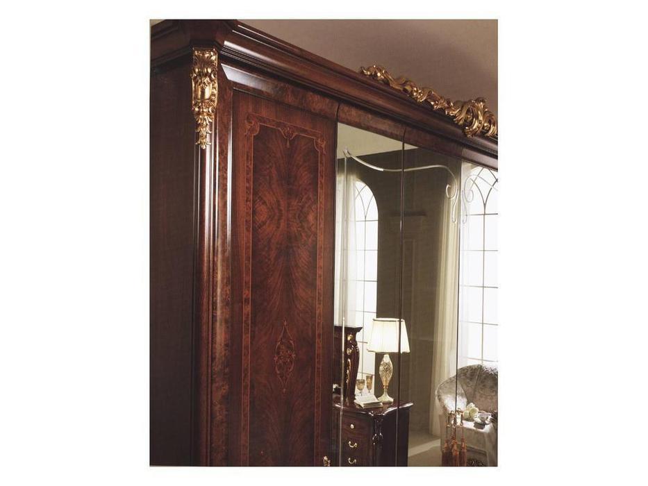 Arredo Classic: Donatello: шкаф 6-ти дверный 4 зеркала (орех, золото)