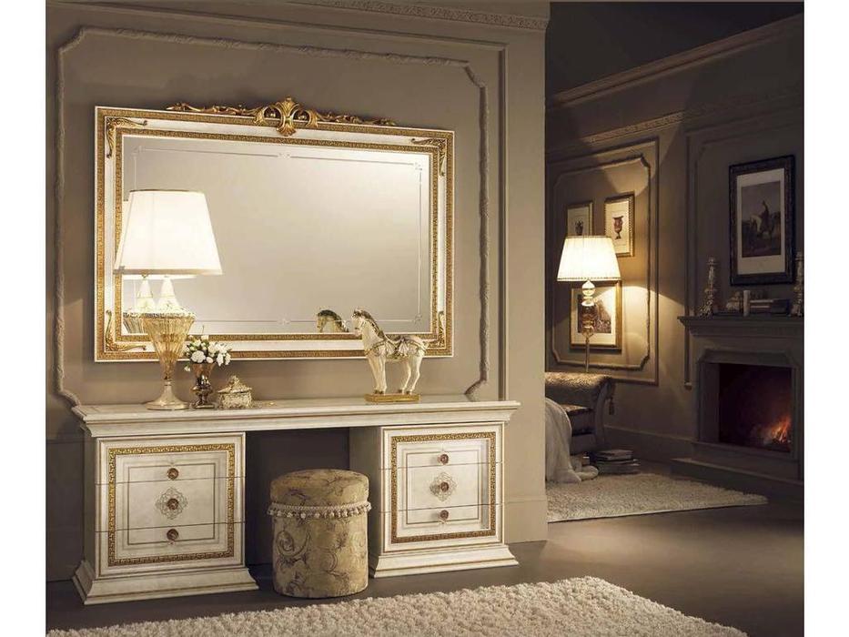 Arredo Classic: Leonardo: зеркало настенное большое без короны (крем, золото)