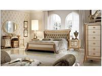 Arredo Classic: Melodia: кровать 200х200 King с мягкой спинкой  (слоновая кость, золото)