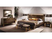 Arredo Classic: Essenza: кровать 200х200 (венге, коричневый, золото)