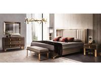 Arredo Classic: Essenza: кровать 200х200 с мягкой спинкой (венге, коричневый, золото)