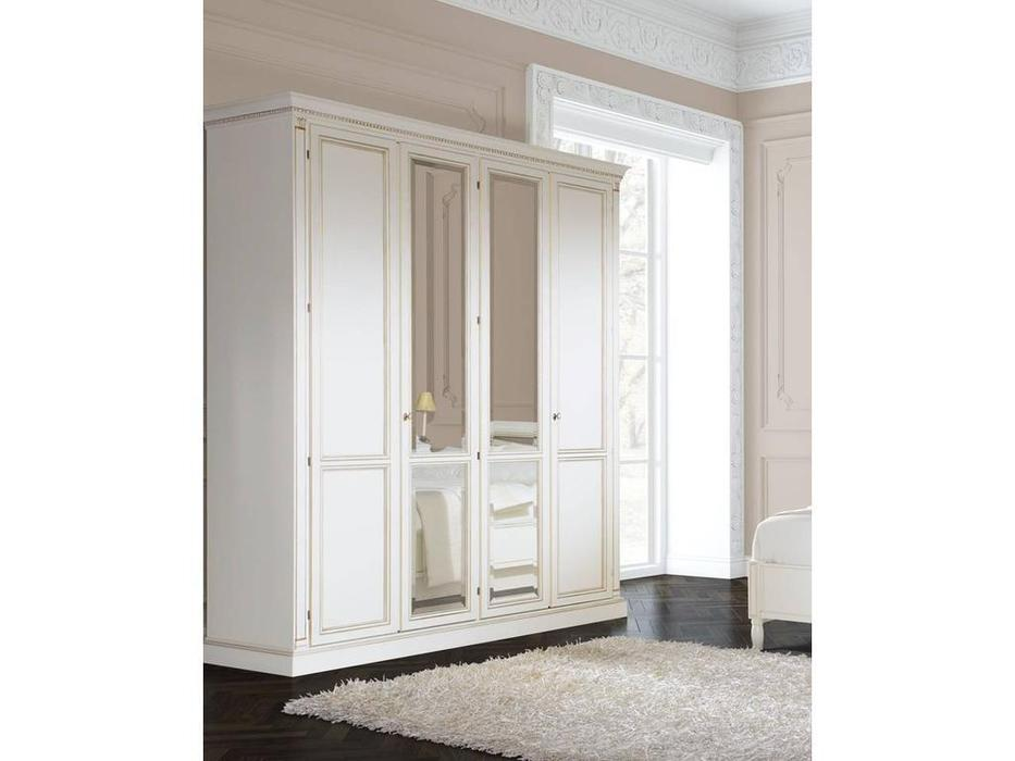 Liberty: Флоренция: шкаф 4-х дверный с зеркалами  (белый)
