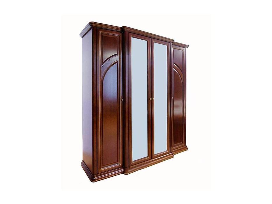 Liberty: Сильвия: шкаф 4 дверный  с зеркалами (орех милано)