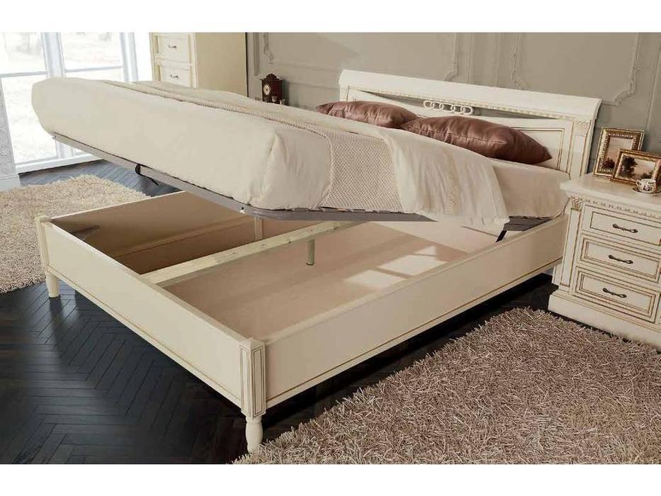Свобода: Флоренция: кровать  160х200 с подъемным мех-ом (слоновая кость, золото)