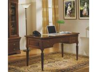 Cavio: Fiesole: стол Фиесоле письменный 5 ящиков  (орех фиорентино, зеленая кожа P 706)
