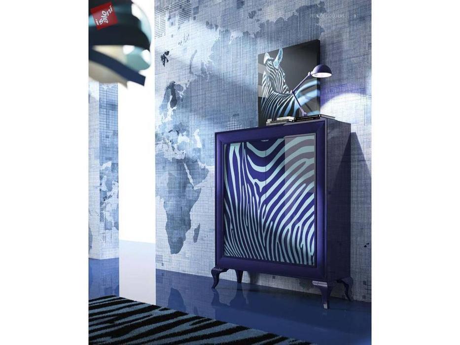 La Ebanisteria: Pluie De Couleurs: витрина 2-х дверная ZEBRA (Azul Spring Piano, Piel Azul Noche)