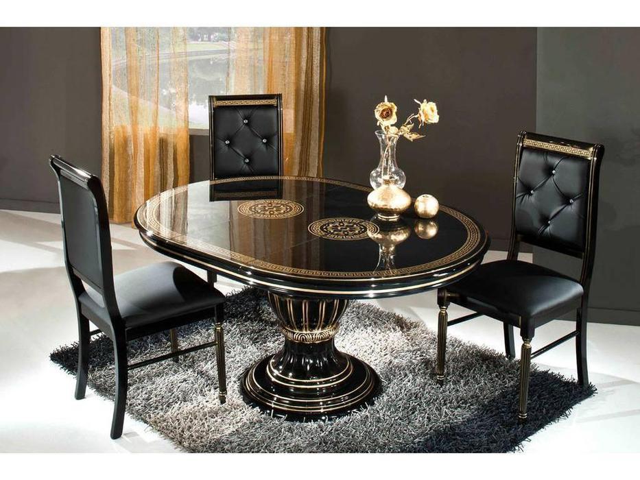 H2O design: Росселла: стол обеденный раскладной 115/160 (черный, золото)