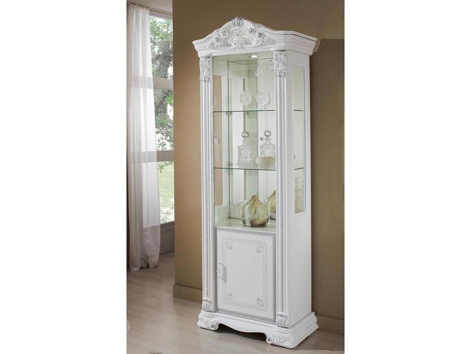 H2O design: Престиж: витрина 1 дверная (белый, серебро)