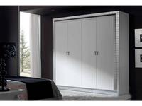 Condor: Siena: шкаф 4-х дверный  (белый лак, серебро)