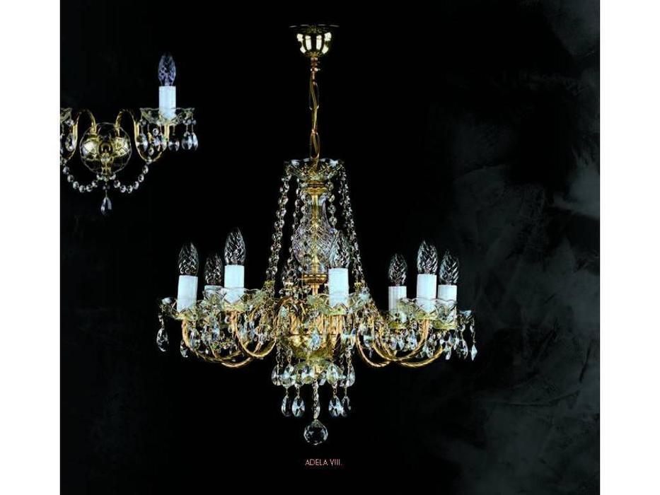 Artglass: люстра ADELA VIII (шлифованная латунь) 8x40w