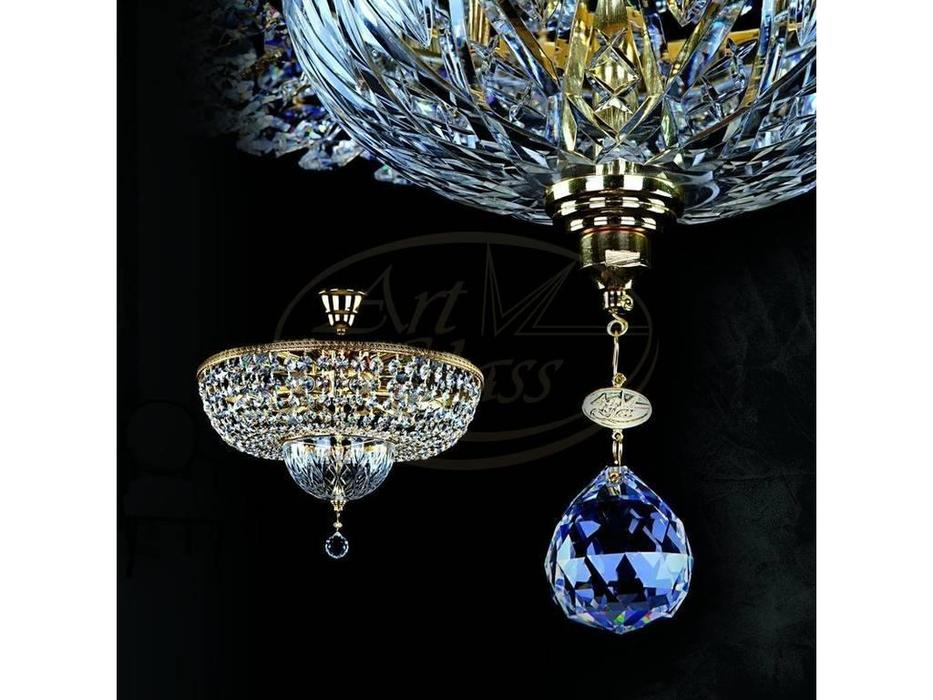 Artglass: люстра ALBINA II. CE (шлифованная латунь) 9x40 W