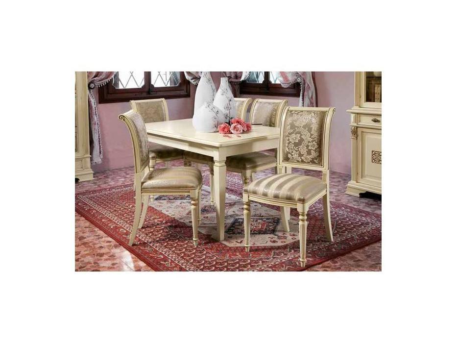 Claudio Saoncella: Puccini: стол обеденный раскладной  (белый, золото)