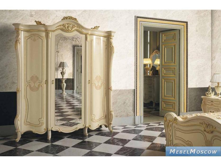MobilPiu: Опера: шкаф 3-х дверный Super (слоновая кость, золото)