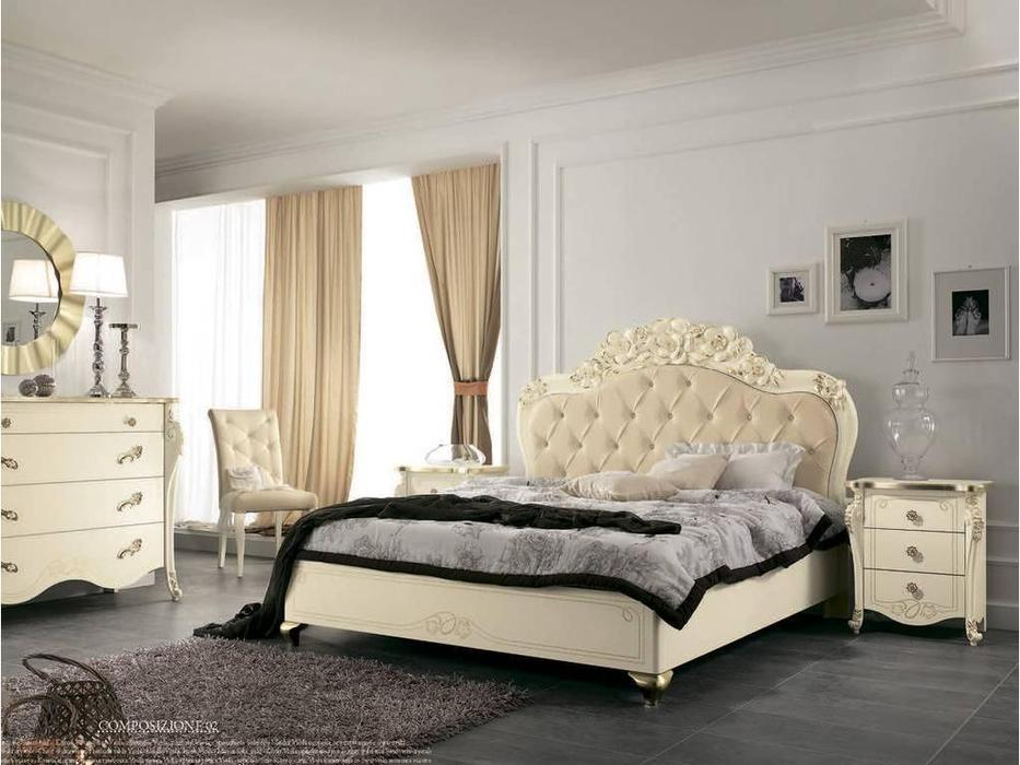 MobilPiu: Виола: кровать 160х190 (слоновая кость, золото, экокожа)
