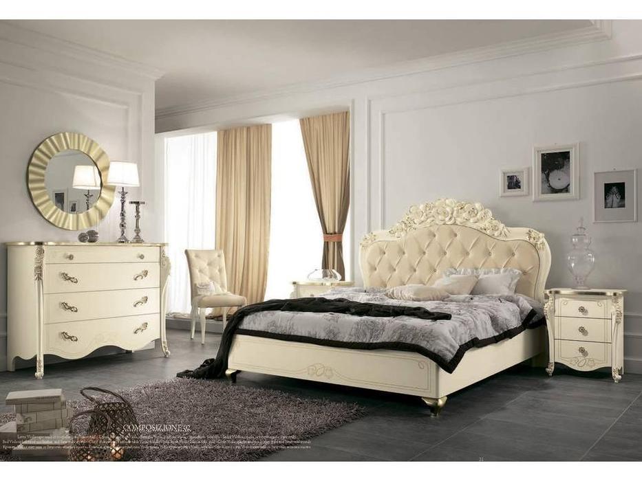 MobilPiu: Виола: кровать 180х200 (слоновая кость, золото, экокожа)