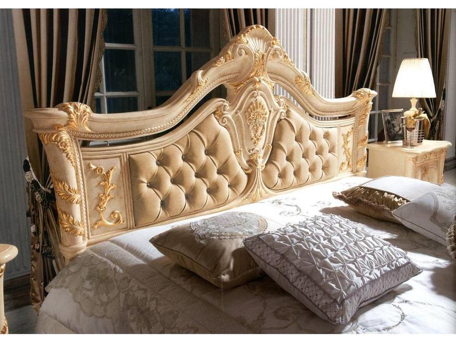 MobilPiu: Madame Royale: кровать 160х190 со Swarovski (слоновая кость, золото, экокожа)