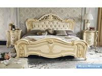 MobilPiu: Опера: кровать 200х200 ткань (слоновая кость, золото)