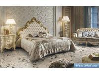 MobilPiu: Опера: кровать Elizabeth 160х190 ткань (слоновая кость, золото)