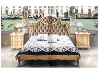 MobilPiu: Madame Royale: кровать Venezia 160х190 со Swarovski (золотая фольга, бархат)