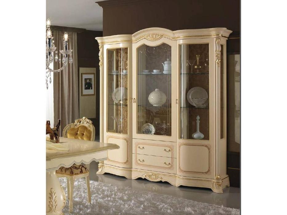 MobilPiu: Регина: витрина 3-х дверная (слоновая кость, золото)