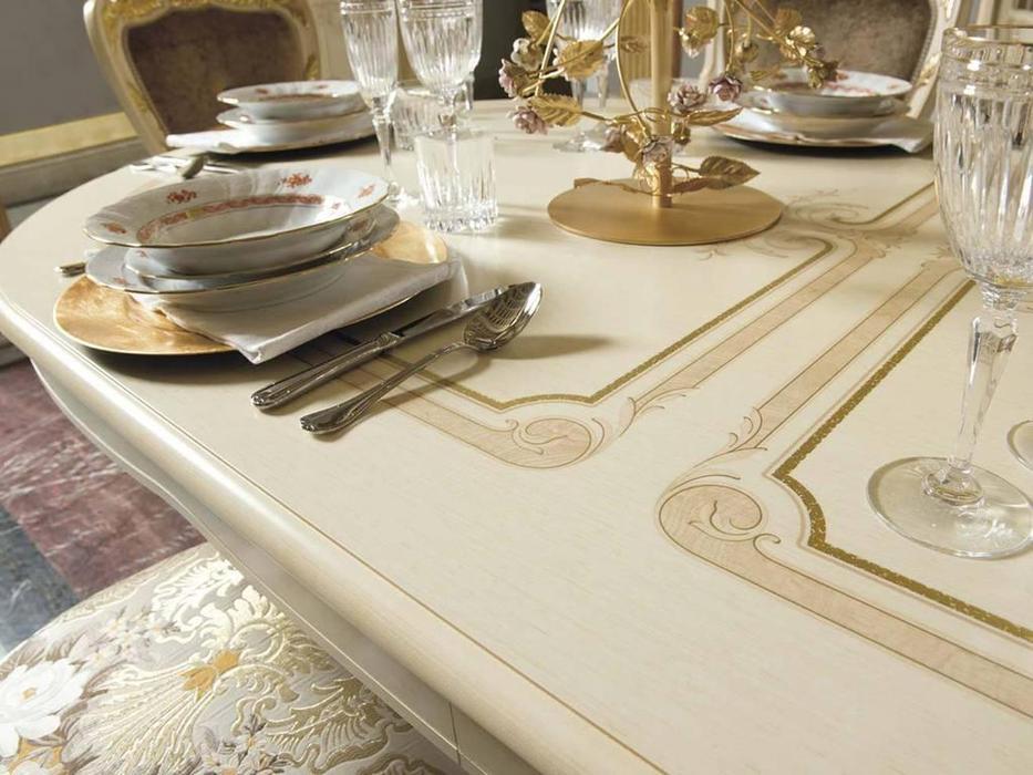 MobilPiu: Опера: стол обеденный раскладной овальный (слоновая кость)