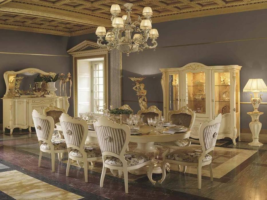 MobilPiu: Опера: стол обеденный раскладной (слоновая кость, золото)