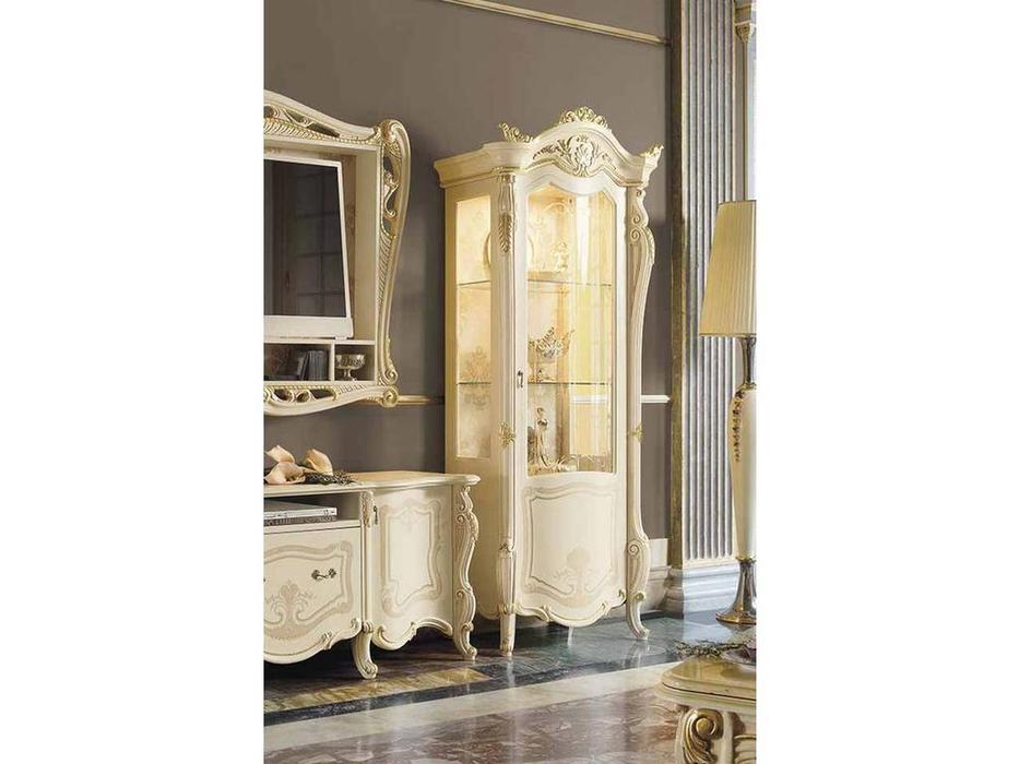 MobilPiu: Опера: витрина 1 дверная (слоновая кость, золото)