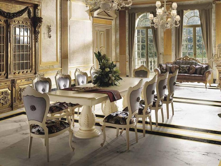 MobilPiu: Опера: стол обеденный Le Foglie (слоновая кость, золото)