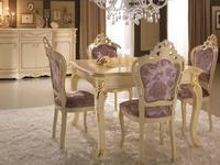 MobilPiu: Регина: стол обеденный квадратный раскладной (слоновая кость, золото)