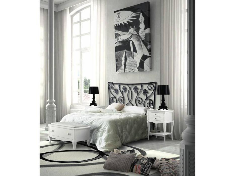 Grupo Seys: Basilea: кровать 160х200  (tosca, черный металл)