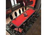 La Ebanisteria: Quantum: стол обеденный 240х120  (smoke, rosso piano)