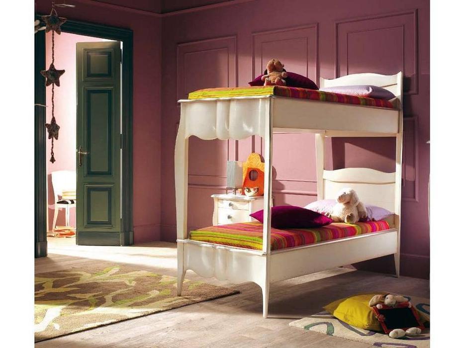 Modenese Моденесе: Casanova: кровать 80х190 Казанова двухъярусная  (слоновая кость с патиной)