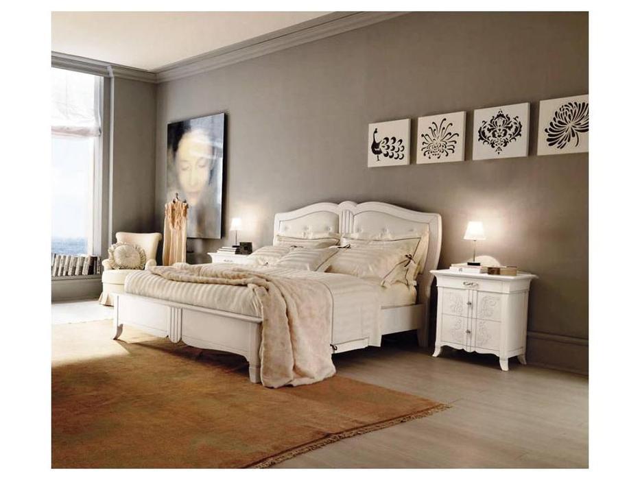 Francesco Pasi: New Deco: кровать 160х200 Деко изголовье ткань кат.C  (laccato bianco)