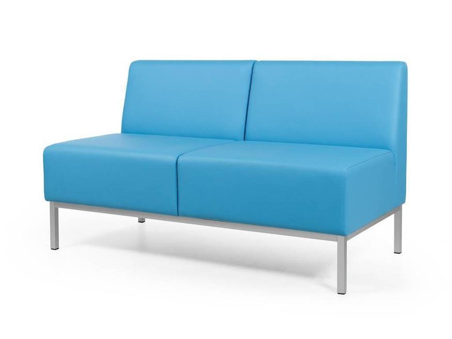 Евроформа: Компакт: диван - прямая 2 местн.секция тк. Экокожа (синий)