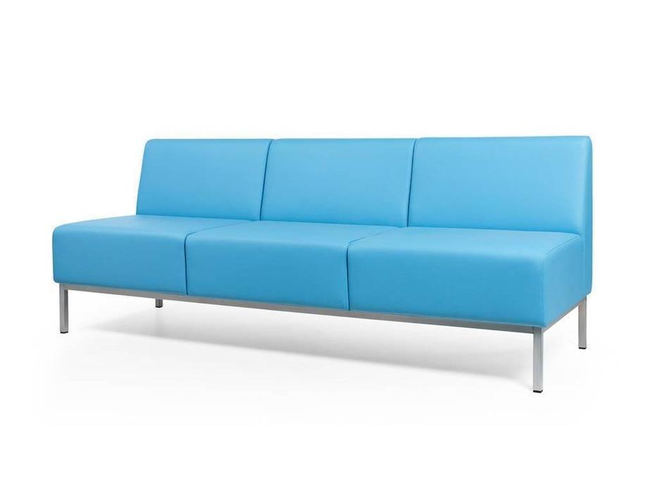 Евроформа: Компакт: диван - прямая 3 местн.секция тк. Экокожа (синий)